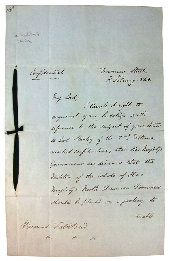 """Autographed Letter, Signed. A five page hand-written letter, headed - Downing Street """"Confidential"""", 3rd February 1846 from Colonial Secretary Gladstone to Viscount Falkland, Governor of Nova Scotia. William Ewart The Right-Honourable GLADSTONE."""