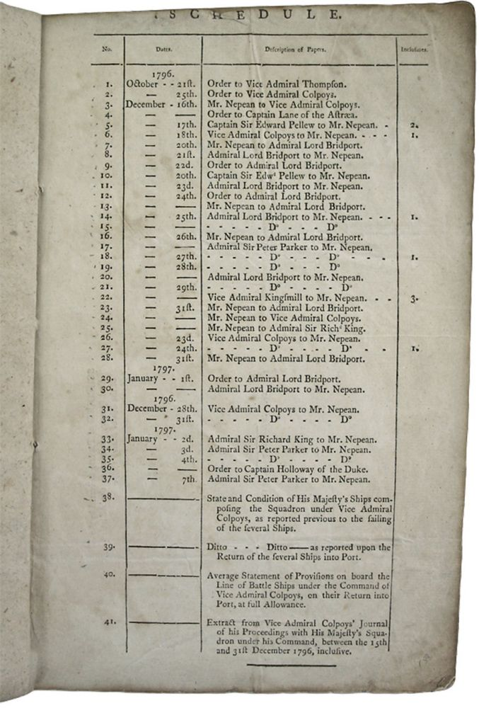 SCHEDULE of Papers. [41 papers]. [Collection of Printed Internal Communications in the Royal Navy, October 1796 - January 1797, Pertaining to the French Expedition to Ireland]. (No title page, apparently as issued; completed from internal information). Great Britain. British Admiralty.
