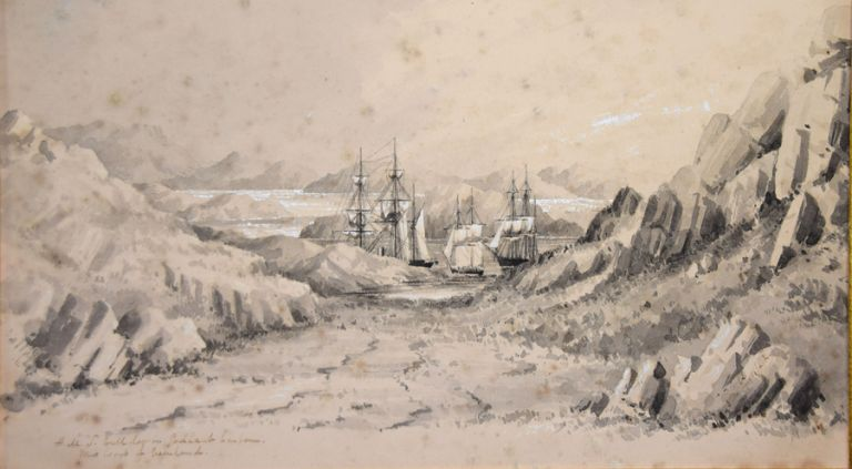 Two Gray Wash Watercolour Sketches. Titles: HMS Bulldog in Godhaab Harbour. West Coast of Greenland. And: The Saddel Mountain, Baals Fjord, Greenland. By Conway Shipley. Conway PAINTING SHIPLEY.