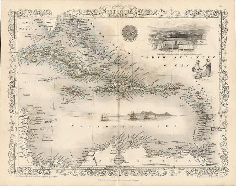 West India Islands. The Illustrations by H. Warren & Engraved by J. Rogers. The Map Drawn & Engraved by J. Rapkin. MAP - TALLIS.