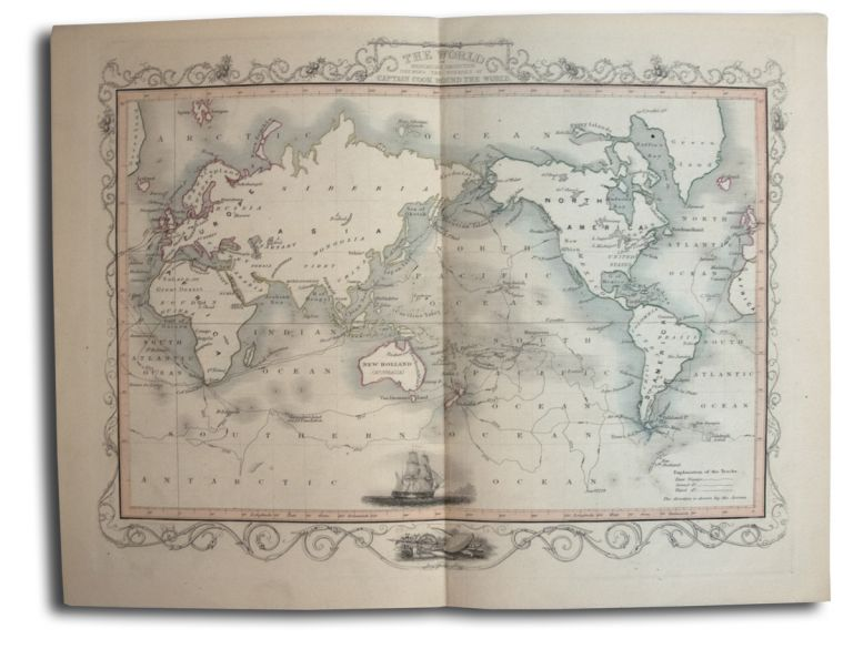 The World Mercator's Projection Shewing the Voyages of Captain Cook Round the World. MAP., James Rapkin.