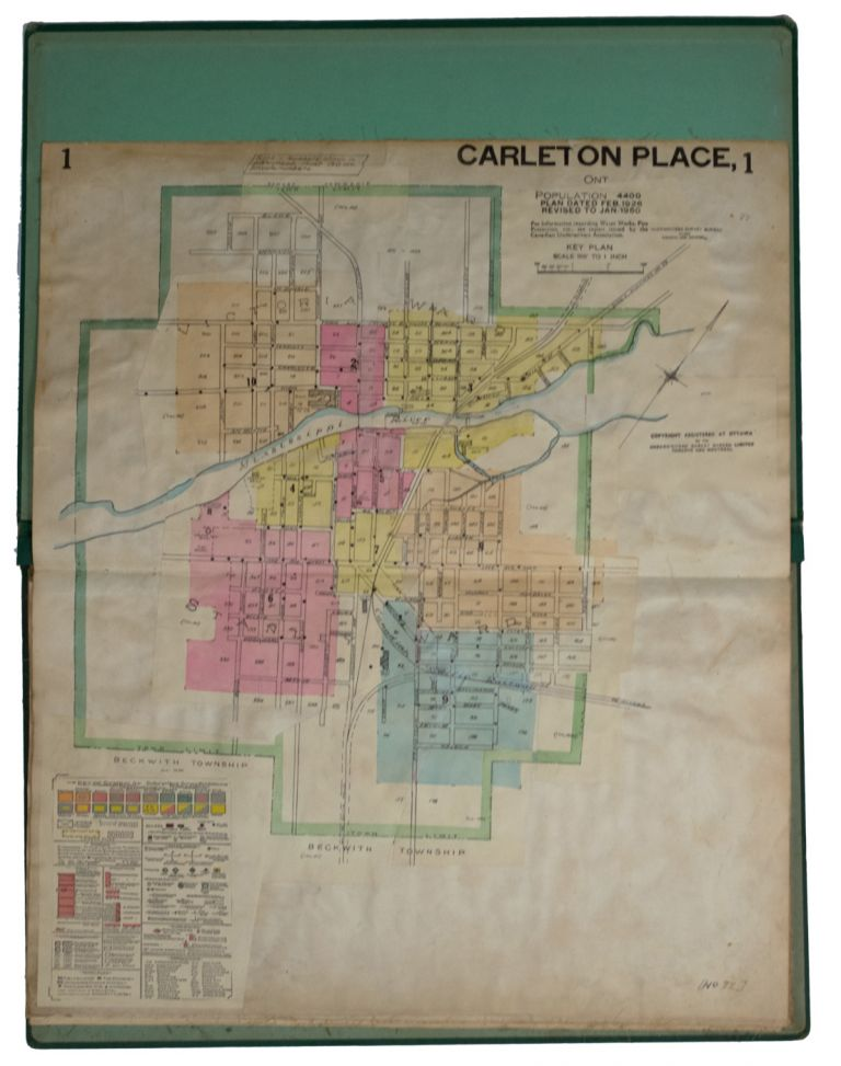 Insurance Plan of the Town of] Carleton Place Ont. Population 4400. Plan Dated Feb. 1926, Revised to Jan. 1950. Ontario. GOAD ATLAS. Carleton Place, Charles E.