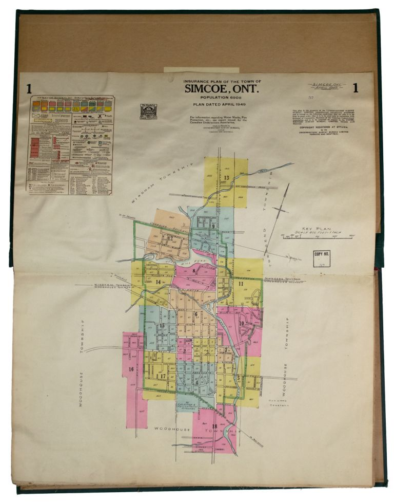Insurance Plan of the Town of] Simcoe, Ont. Population 6908, Plan Dated April 1949. Ontario. GOAD ATLAS. Simcoe, Charles E.