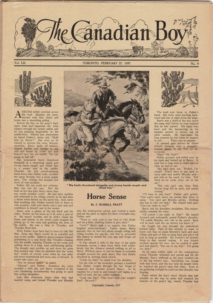 The Canadian Boy. A Weekly published by The United Church of Canada. 1937: numbers 9, 10, 12-16, 20-26, 40, 41, 43, 44, 47, 49, 50-52. & 1938: numbers 1-12, 15, 16, 42-44, 51. & 1939: 15,14.19. [43 Copies]. George A. CANADIAN Boys' Periodical. - LITTLE, Archer Wallace.