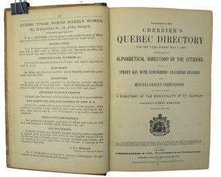 Cherrier's Quebec City Directory for the year ending May 3, 1880, containing an Alphabetical Directory of the Citizens and a Street Key With Subscribers' Classified Business and Miscellaneous Directories. To which is added A Directory of the Municipality of St. Sauver, Twenty-First Edition, corrected to June, 1879.