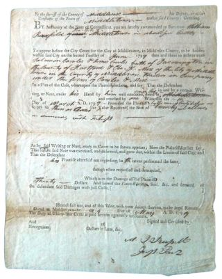 Summons dated May 24, 1799 against William Redfield of Middletown, to answer charges by Solomon...