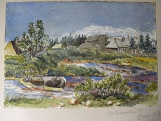 A collection of 74 unsigned water-colour paintings, dated from 1874 to 1905, featuring scenes in Scotland, England, Ireland, St. Vincent, Japan, India and Canada.