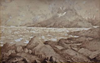 Two Gray Wash Watercolour Sketches. Titles: HMS Bulldog in Godhaab Harbour. West Coast of Greenland. And: The Saddel Mountain, Baals Fjord, Greenland. By Conway Shipley.
