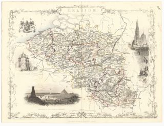 Belgium. The Illustrations by J. Marchant & Engraved by J.B. Allen. MAP. - TALLIS