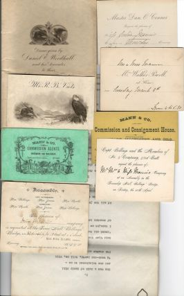 "A collection of items relating to the Mann family of Ottawa including: - business cards (x3) of Mann & Co. Commission Agents, Hardware and Machinery, Ottawa; - invitations to Township Hall, Billings Bridge (x2); - ""at Home"" invitations (x3); - invitation to Ottawa Collegiate Institute Games (1883); - and a formal Parliament of Canada invitation for Miss Bird Griffidus Mann to be present at the Opening of Parliament, September 8, 1930. Also included, though unnamed, is a four-page poem believed to be by Miss Bird Mann - ""She was a Maid of Sandy Hill and she telephoned to me-'A weekend-party, tell me, will its charms appeal to thee?,,,,""."